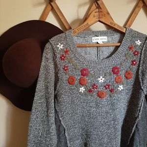 Knox Rose floral embroidered sweater 099